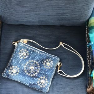 Denim jeweled purse